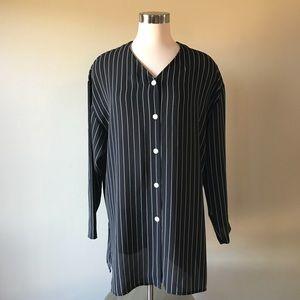Vintage Black White Pinstriped Button Down Tunic